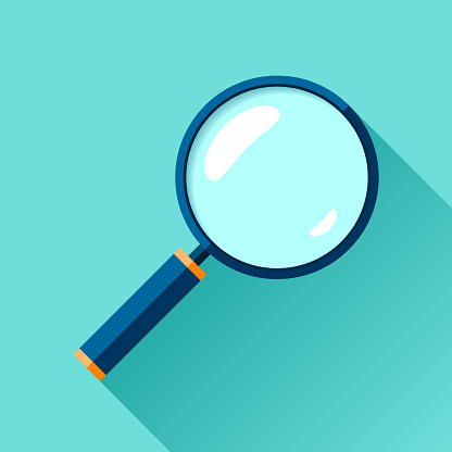 Magnifying glass icon in flat style. Search loupe on color background. Vector design object for you business project
