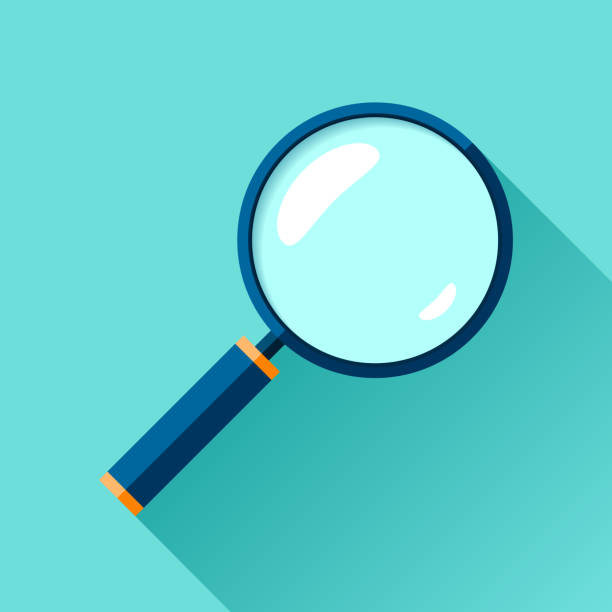 lupensymbol im flachen stil. suche lupe auf farbigem hintergrund. vektor-design-objekt für business-projekt - sucht stock-grafiken, -clipart, -cartoons und -symbole