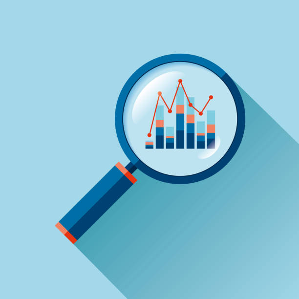 Magnifying glass icon in flat style. Search loupe on color background. Business analytic charts illustration. Vector design object for you project Magnifying glass icon in flat style. Search loupe on color background. Business analytic charts illustration. Vector design object for you project data stock illustrations