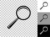 istock Magnifying Glass Icon on Checkerboard Transparent Background 1247528880