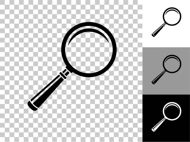 Magnifying Glass Icon on Checkerboard Transparent Background vector art illustration