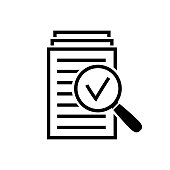 Magnifying glass icon, check assess sign, symbol of scrutiny plan in flat style, search documents icon, quality sign or success, paper label. Vector illustration for web site, mobile application.