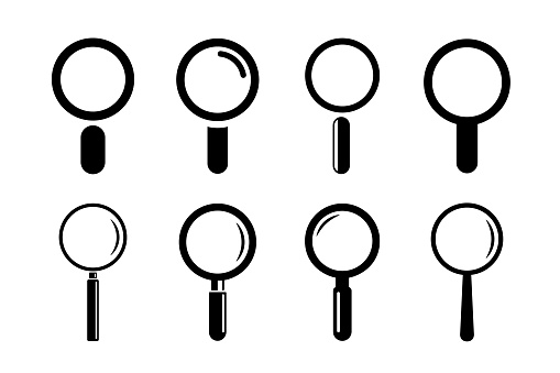 Magnifying glass icon set