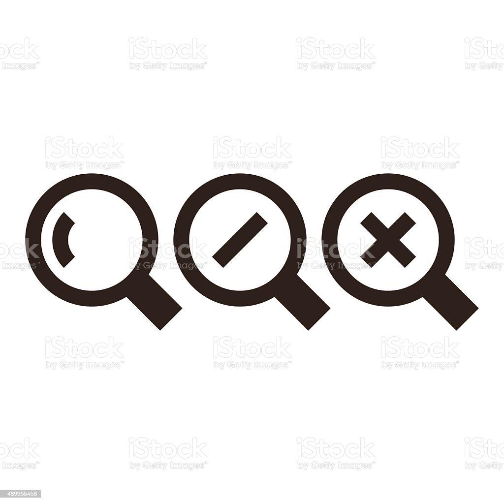 Magnifying glass icon set vector art illustration