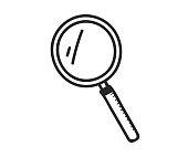 Magnifying glass icon. Vector doodle illustration in eps10