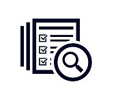 istock Magnifying glass icon with document list with tick check marks 1288288155