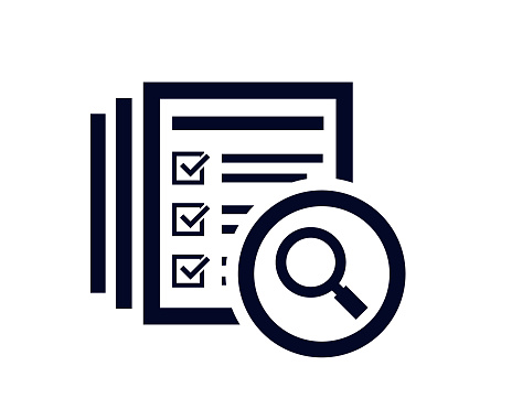 Magnifying glass icon with document list with tick check marks