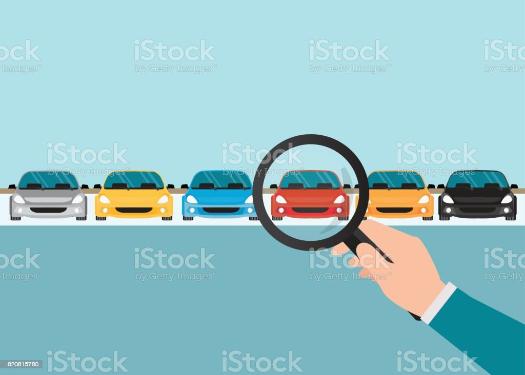 Magnifying glass in human hand with car. vector art illustration