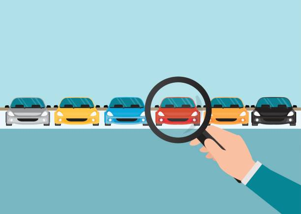 Magnifying glass in human hand with car. Magnifying glass in human hand with car, conceptual of choice flat style vector illustration. car salesperson stock illustrations
