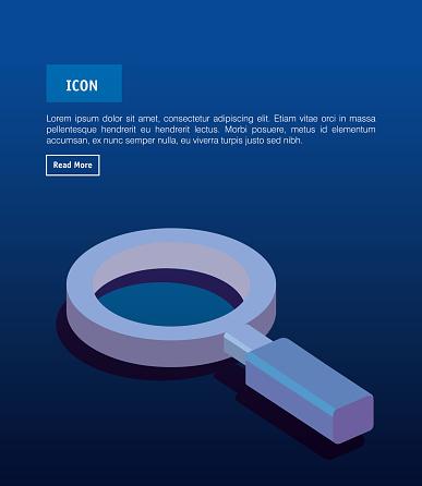 Isometrische Vergrootglaspictogram Stockvectorkunst en meer beelden van Apparatuur