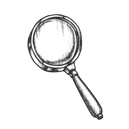 Magnifying Glass Lens Equipment Monochrome Vector