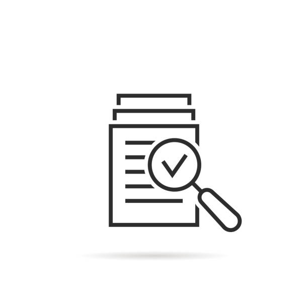 magnifying glass like check assess magnifying glass like check assess. scrutiny plan, verify service critique process and annual examination concept. flat style graphic design quality sign or success proven on white background validation stock illustrations