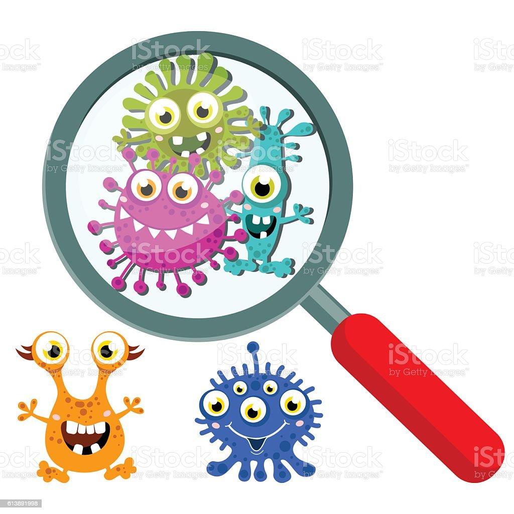 Magnifying Glass look through Germ, Bacteria, Virus, Microbe, Pathogen Characters. vector art illustration