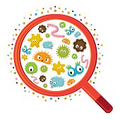 Magnifying Glass look through Germ