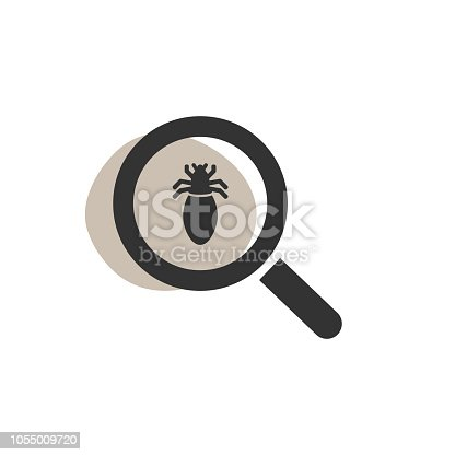 Magnifying glass looking for a lice isolated web icon. Vector illustration