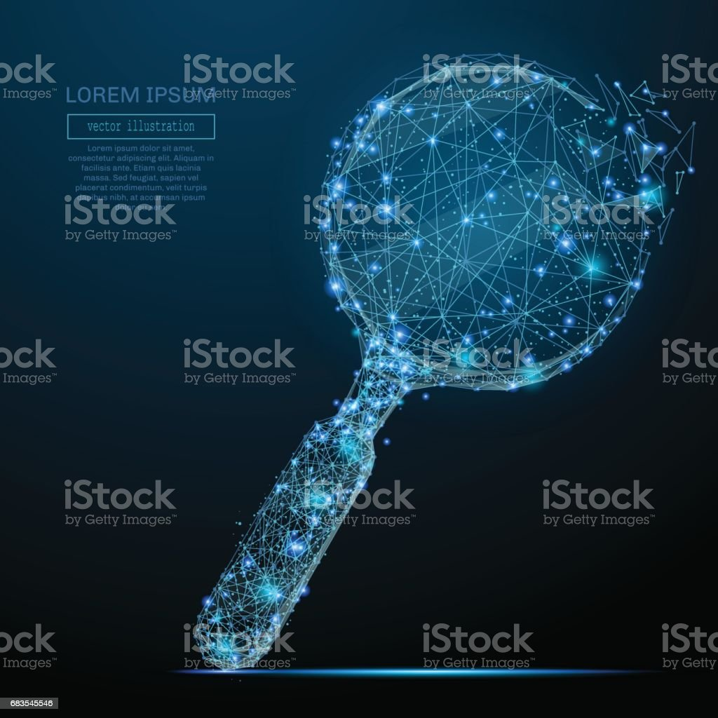 magnifying glass low poly blue