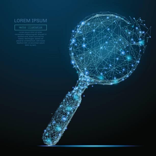 Lupe-low-Poly blau – Vektorgrafik
