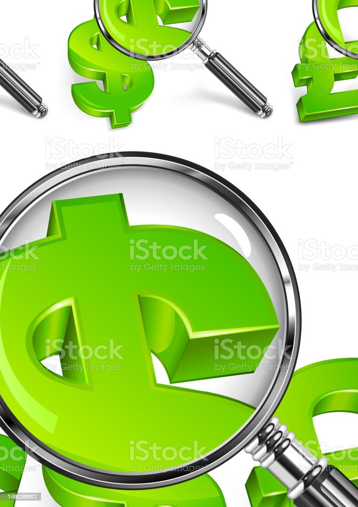 Magnifying glass & money symbol royalty-free magnifying glass money symbol stock vector art & more images of business