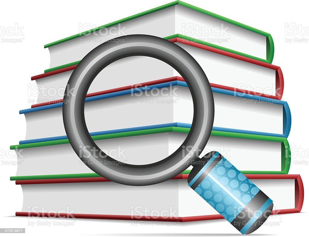 Magnifying glass on book royalty-free magnifying glass on book stock vector art & more images of book