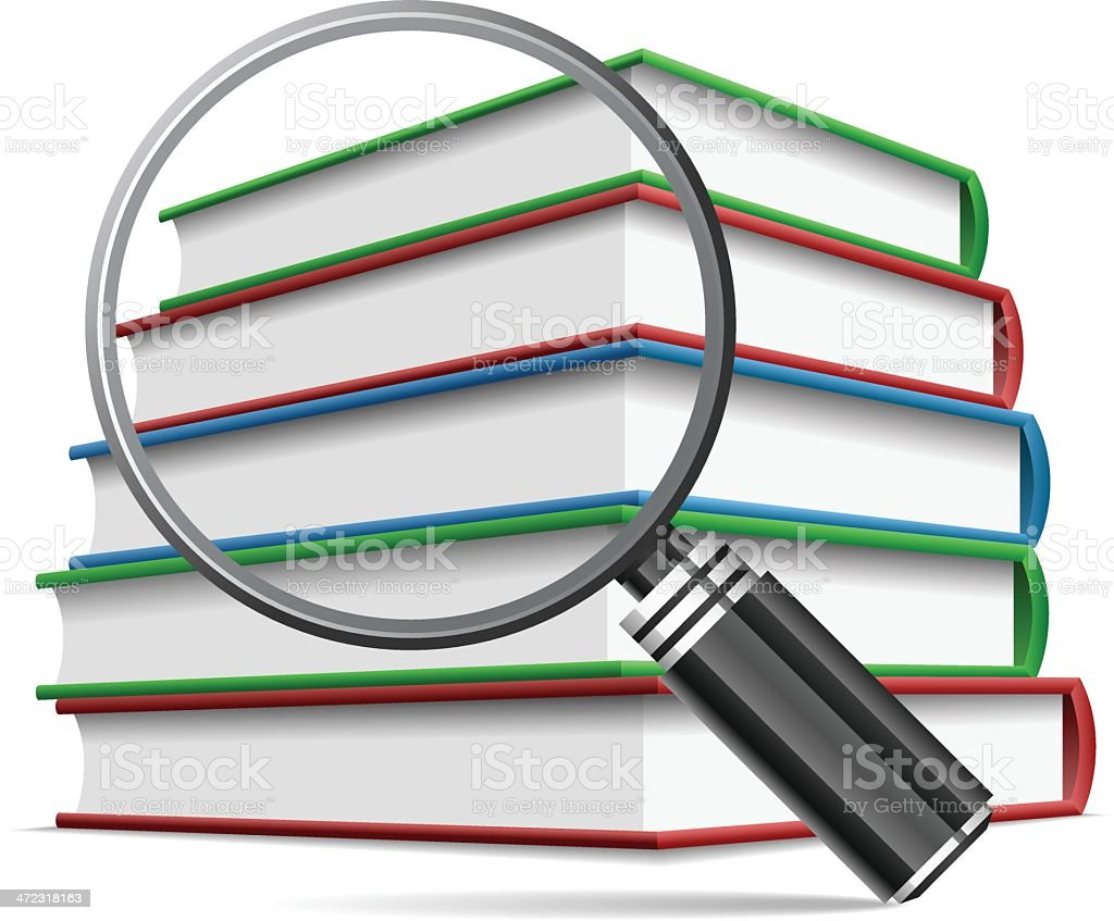 Magnifying glass on book royalty-free stock vector art