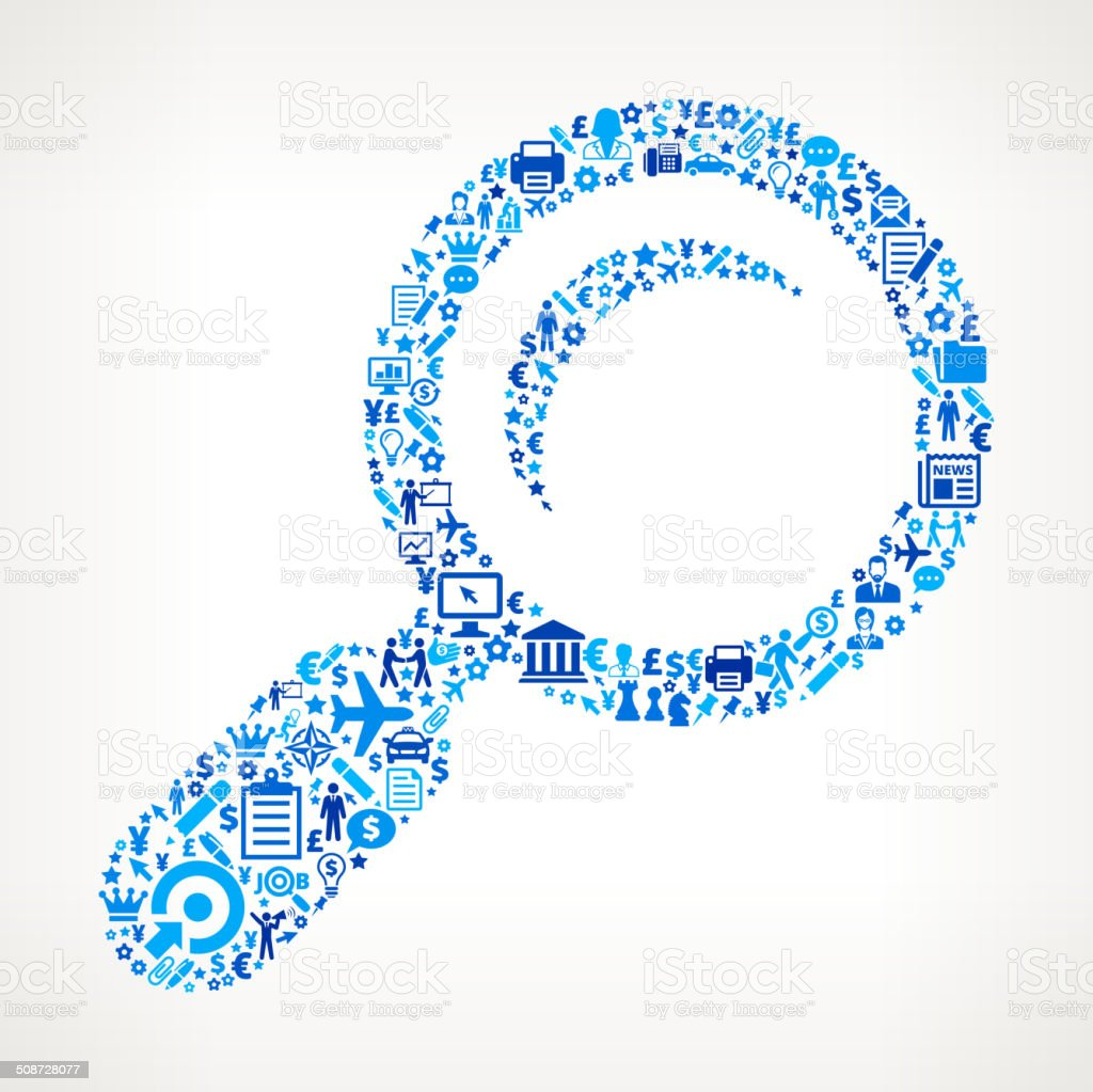 Magnifying Glass on Business Icon Pattern
