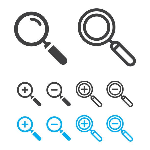 illustrazioni stock, clip art, cartoni animati e icone di tendenza di magnifying glass or search icon set and zoom in, zoom out vector design. - banchi scuola
