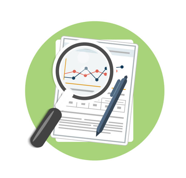 Magnifying glass, pen and chart Magnifying glass, pen and chart. Business concept of analyzing low scale magnification stock illustrations