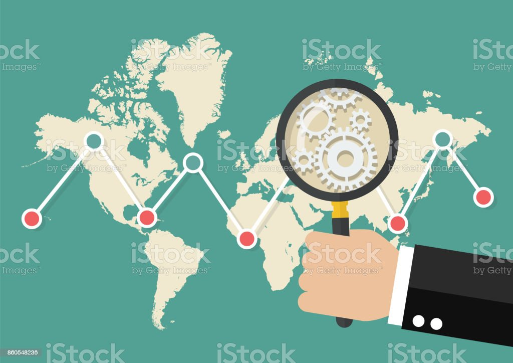 Magnifying glass scan stock market graph with world map stock vector magnifying glass scan stock market graph with world map royalty free magnifying glass scan stock gumiabroncs Image collections