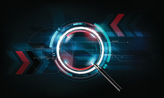 magnifying glass, search concept and futuristic technology background, vector illustration