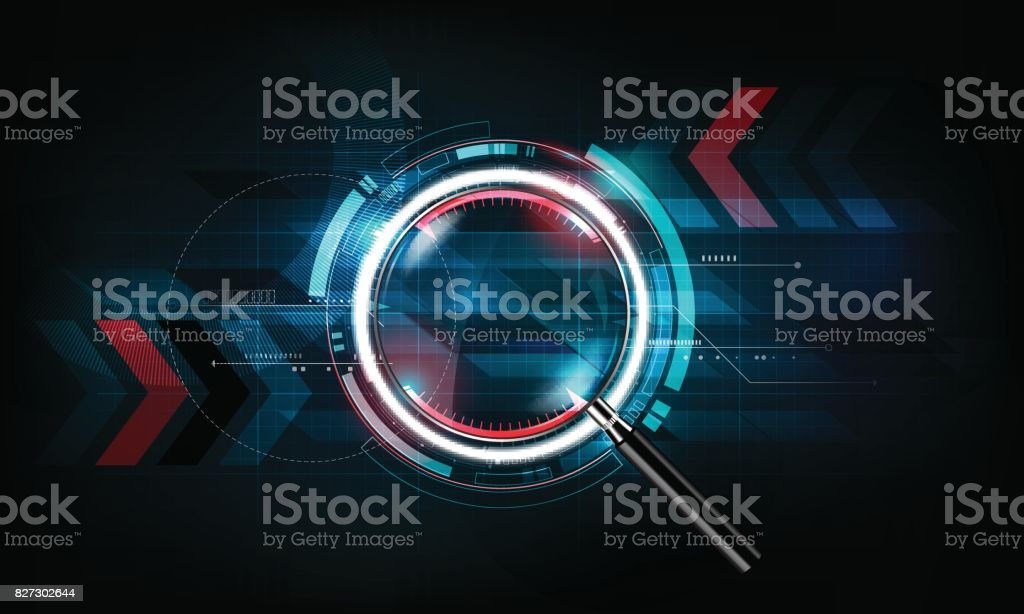 magnifying glass, search concept and futuristic technology background, vector illustration vector art illustration