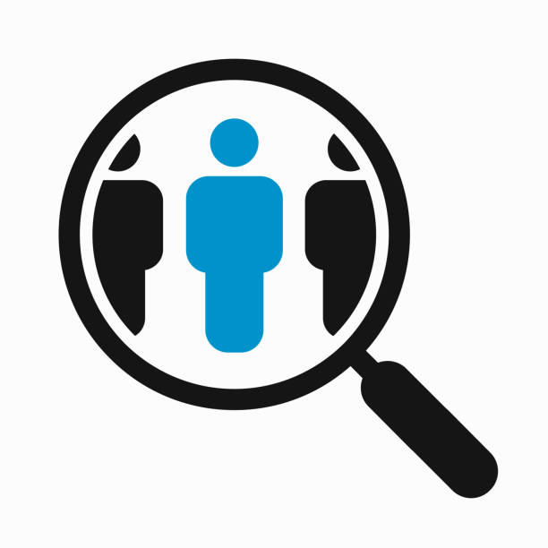Magnifying glass search people Magnifying glass looking for people icon, employee search symbol concept, headhunting, staff selection, vector illustration image focus technique stock illustrations
