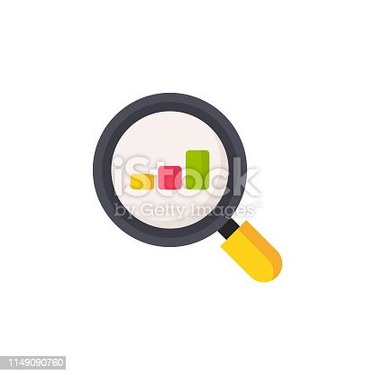 Magnifying Glass, Search, Performance Review Flat Icon.