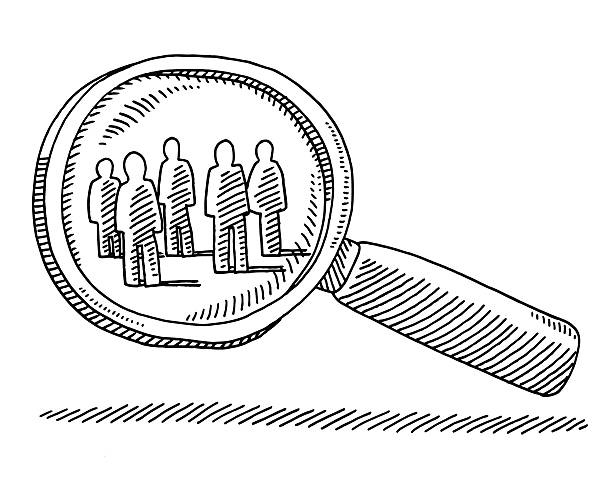ilustraciones, imágenes clip art, dibujos animados e iconos de stock de lupa objetivo grupo de personas de dibujo - zoom meeting