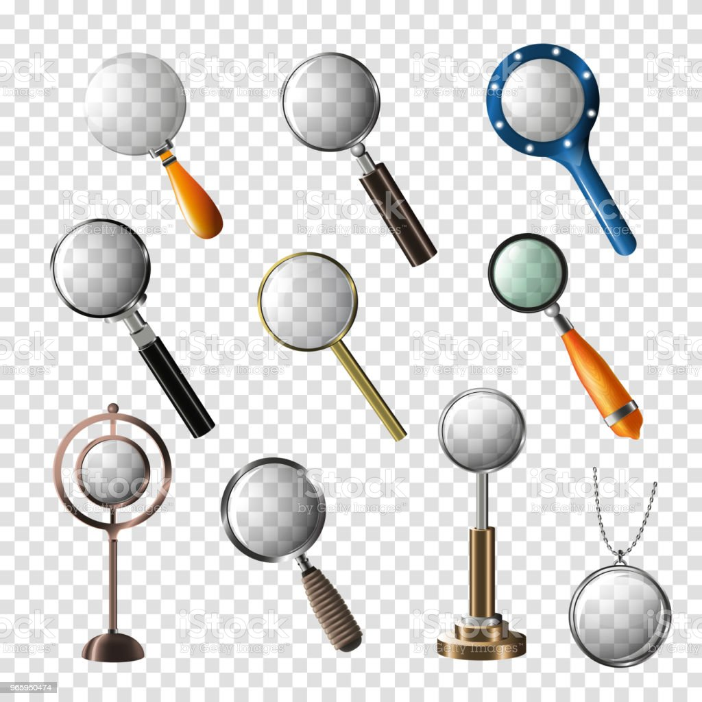 Magnifying glass vector magnification zoom or search and magnify research lens illustration set of magnified scientific exploration sign isolated on transparent background - Royalty-free Aspirations stock vector