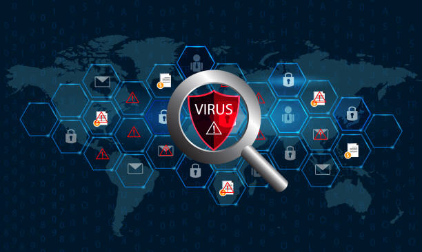 Magnifying glass virus Computer Check the virus on the digital world to protect data and spread the virus Vectors eps 10 Magnifying glass virus Computer Check the virus on the digital world to protect data and spread the virus Vectors eps 10 computer virus stock illustrations