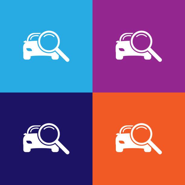 bildbanksillustrationer, clip art samt tecknat material och ikoner med förstoringsglas med en bildispositionsikon. element av bilreparationer illustration ikon. skyltar och symboler kan användas för webb, logotyp, mobilapp, ui, ux - surf garage