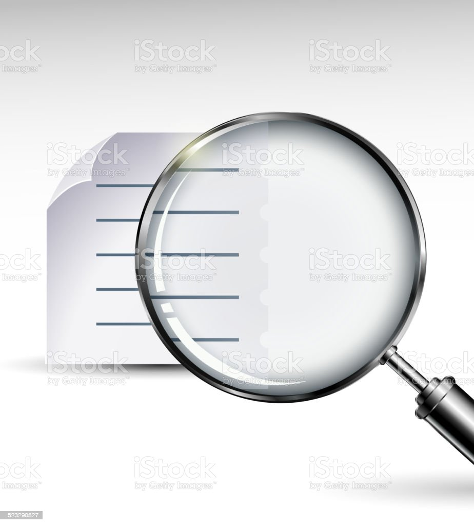 Magnifying glass with abstract paper documents for you design vector art illustration