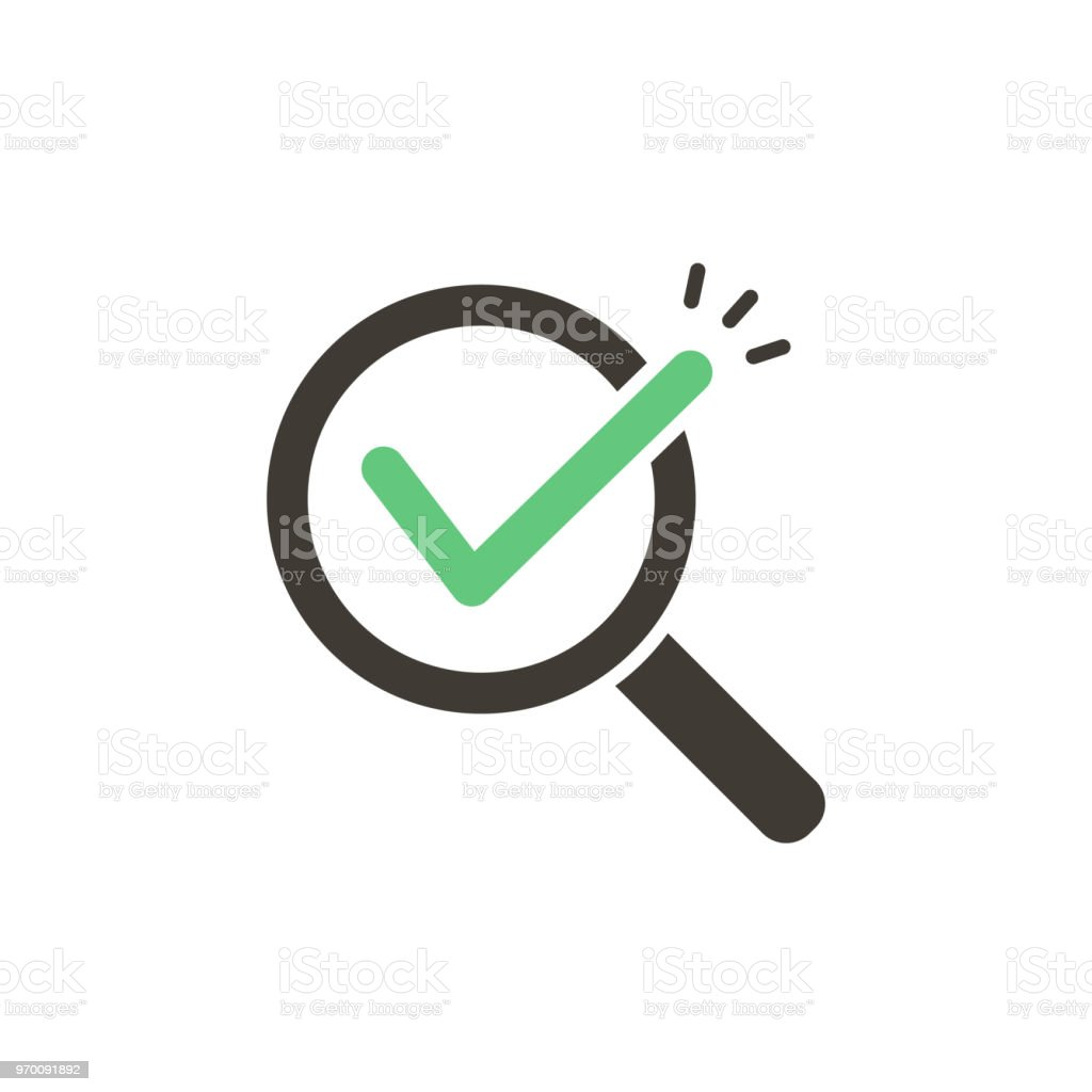 Magnifying glass with green check tick. Vector icon illustration design. For concepts of research, results found, success, examination, reviews, discovery vector art illustration