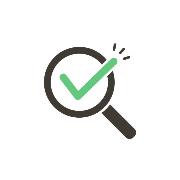 Magnifying glass with green check tick. Vector icon illustration design. For concepts of research, results found, success, examination, reviews, discovery vector eps10 image focus technique stock illustrations