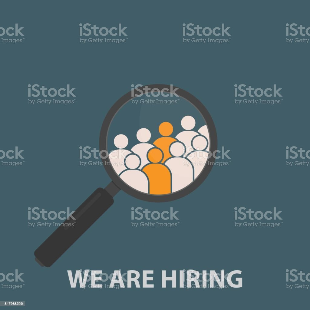 Magnifying Glass with Group Of People Icon. HR job seeking concepts vector art illustration