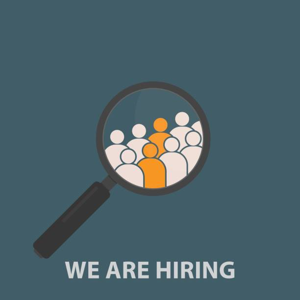 Magnifying Glass with Group Of People Icon. HR job seeking concepts Choosing the talented person for hiring candidate stock illustrations