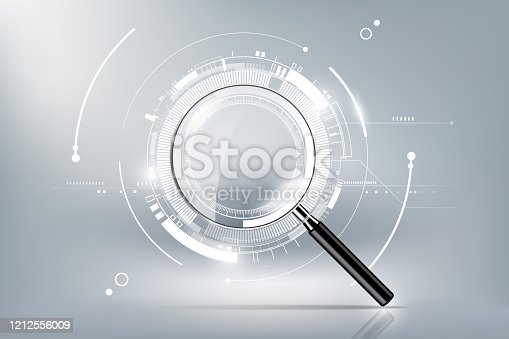 istock magnifying glass with scan search concept and futuristic electronic technology background, transparent vector illustration 1212556009