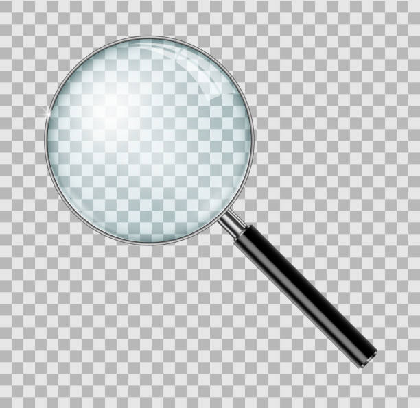 Magnifying glass with steel frame isolated. Realistic Magnifying glass lens for zoom on checkered background. vector illustration Magnifying glass with steel frame isolated. Realistic Magnifying glass lens for zoom on checkered background. vector illustration EPS 10 detective stock illustrations