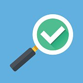 Magnifying glass with tick check mark icon. Flat vector illustration
