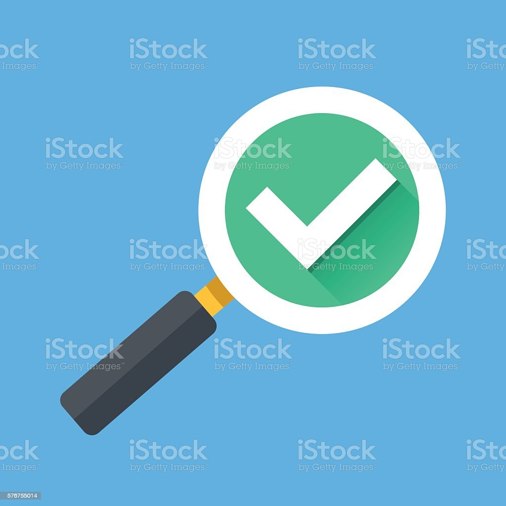 Magnifying glass with tick check mark icon. Flat vector illustration vector art illustration