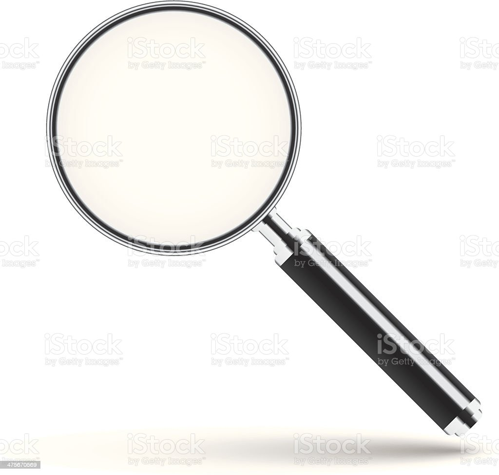 Magnifying glass with transparent glass vector art illustration