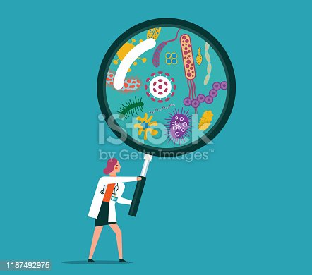 Magnifying lens illustration with viruses stock illustration