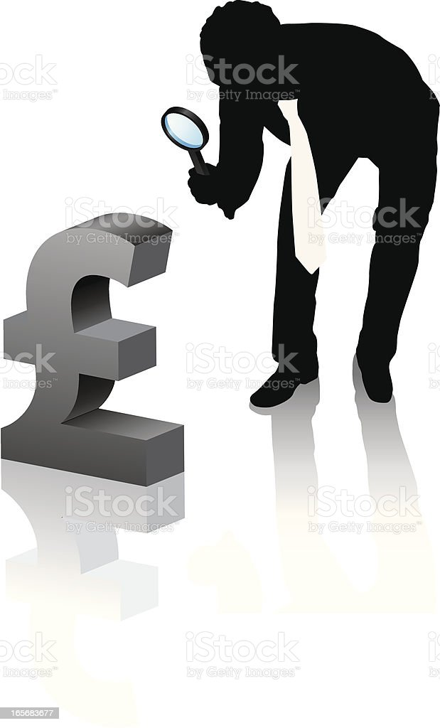 Magnifying pound small royalty-free stock vector art
