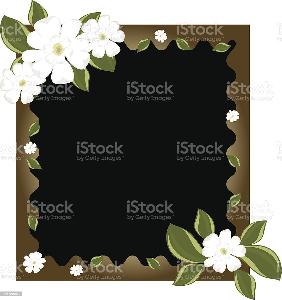 Magnolia blossoms on a frame royalty-free stock vector art