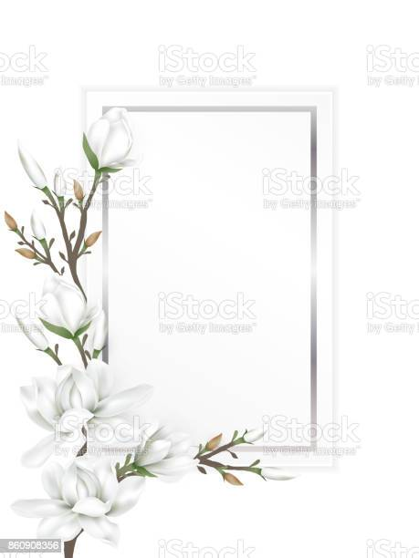 White paper card with border decorated with branches of white magnolia blossom flowers isolated on white background. Vector illustration